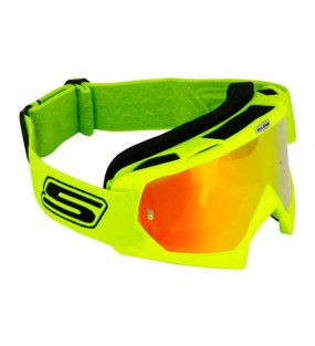 MASQUE CROSS JAUNE FLUO ECRAN IRIDIUM ROUGE