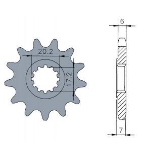 Pignon TECNIUM 12 dents acier pas 420 type 1120 moteurs AM6