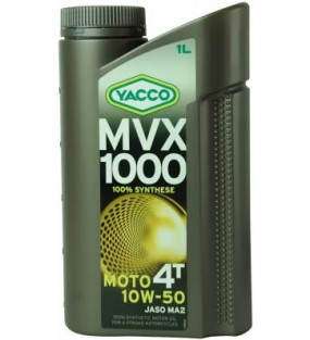 HUILE YACCO MVX 1000 4TEMPS 10W50 100% SYNTHESE 1L