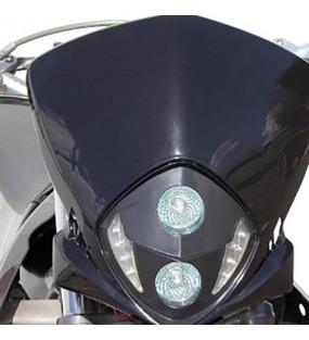 TETE DE FOURCHE MOTO / CYCLO TUN'R XTREM RACE NOIR LEDS BLANC